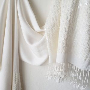 Jones New York Ivory Sequined Shawl Scarf